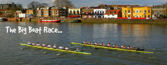The annual boat race between Oxford and Cambridge.