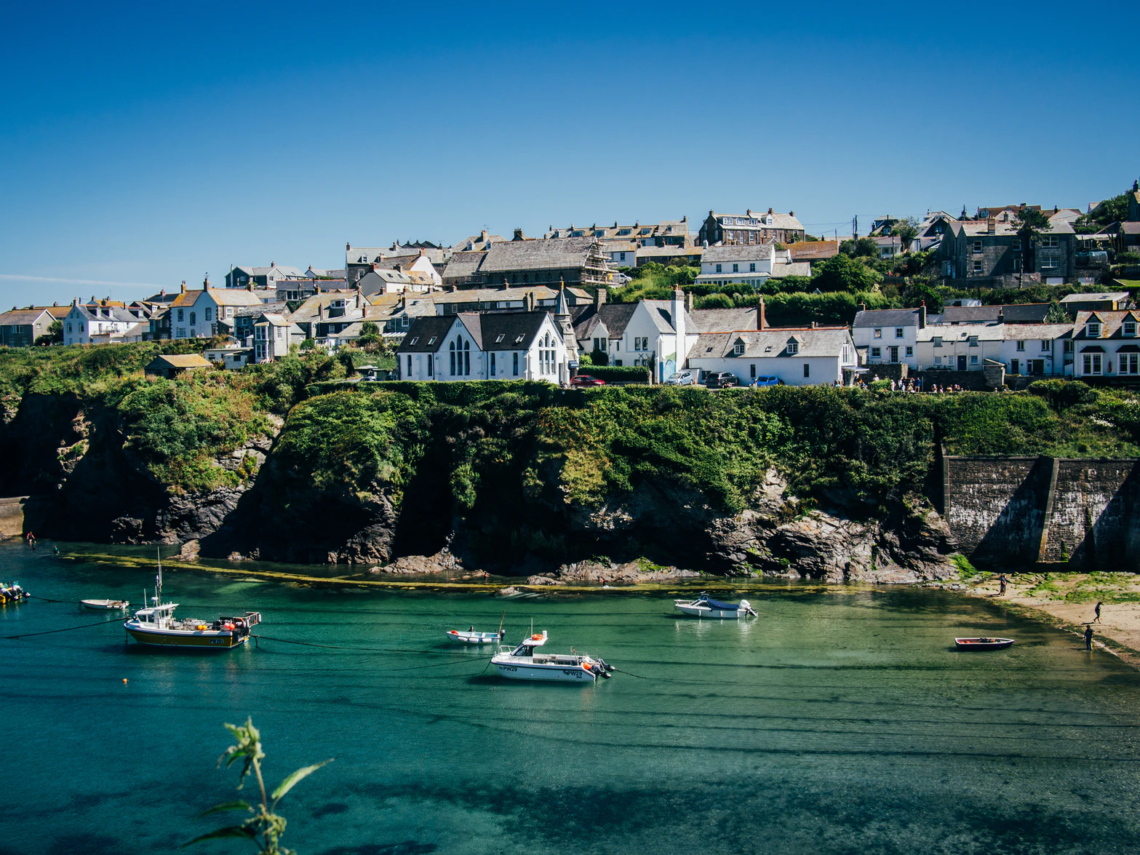 beautiful view of cornwall with boats on the sea