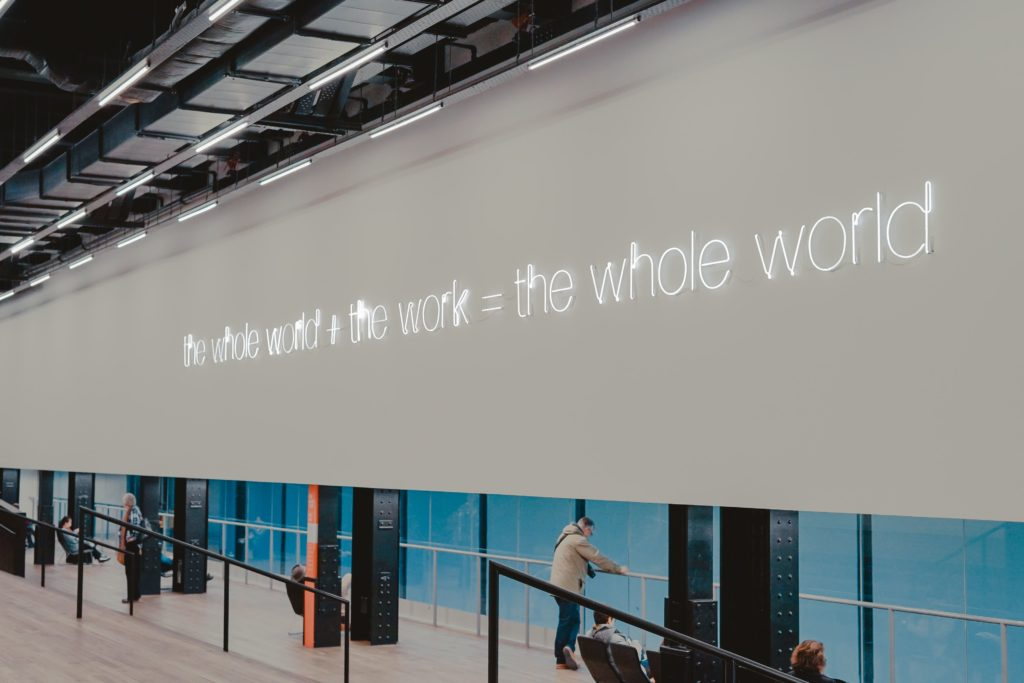 Neon sign at Tate modern