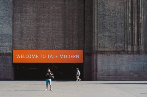 Man in front of the Tate Modern entrance