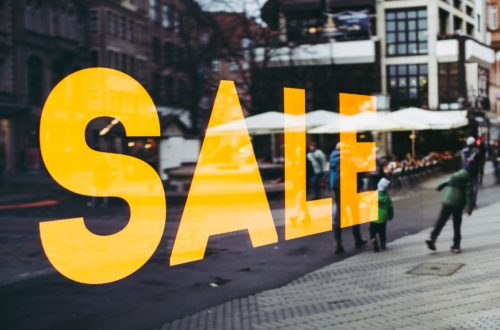 sale sign on shop window