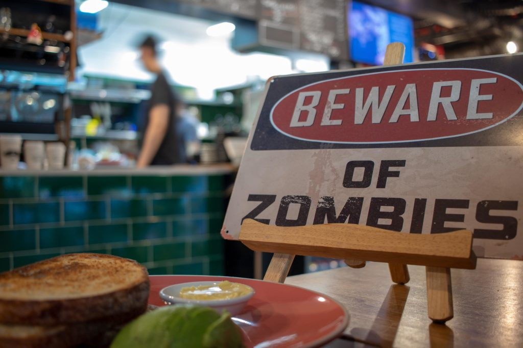 zombie infection sign in a restaurant
