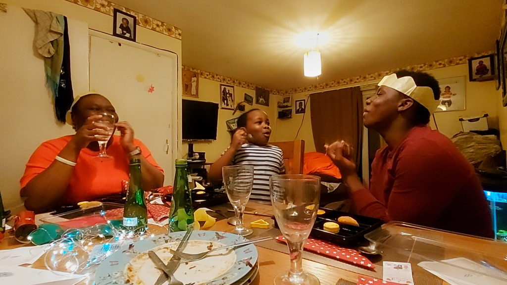 family enjoying a meal at home