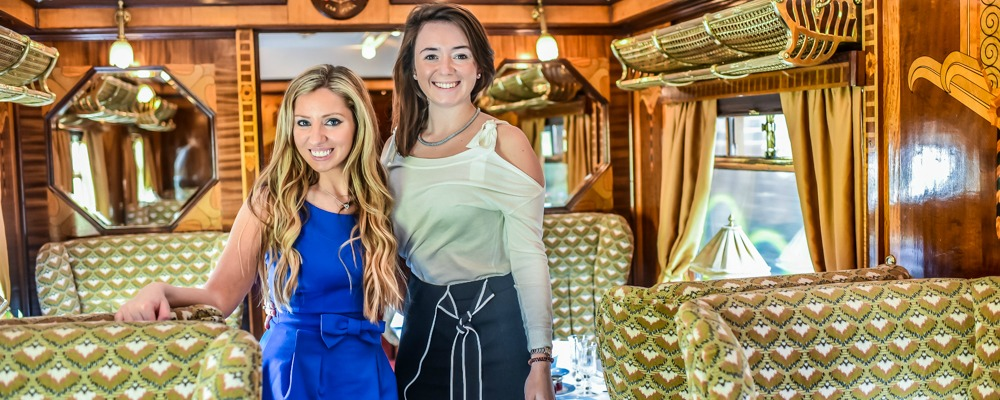 Angie and Lauren in train carriage